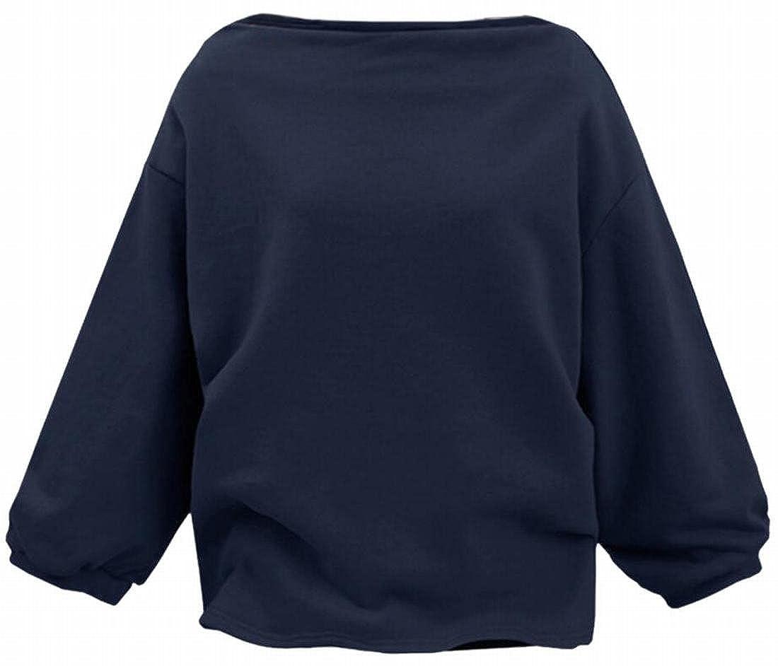 xtsrkbg Womens Fashion Long Sleeve Boat Neck Loose Fit Sweatshirt Pullover
