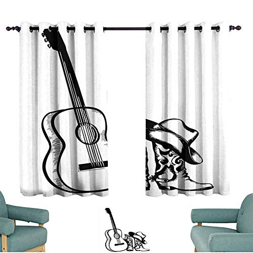 - Mannwarehouse Western Thermal Curtains Country Music Theme with Cowboy Shoes Hat and Guitar Instrument Sketch Art Privacy Protection 55