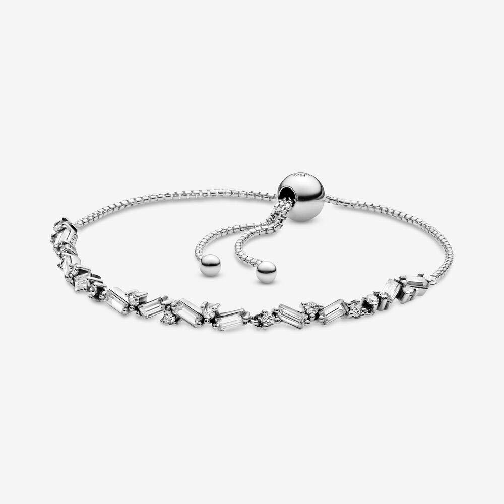 PANDORA - Glacial Beauty Sliding Bracelet Bracelet in Sterling Silver with Clear Cubic Zirconia, 9.8 IN / 25 CM by PANDORA