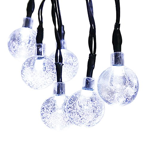 ApexPower Solar Outdoor Christmas String Lights 30led Crystal Ball Waterproof for Garden, Yard, Home, Landscape, and Holiday Decorations(Cool White)