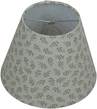 FenchelShades.com Lampshade 5 Top Diameter x 9 Bottom Diameter x 7 Slant Height with Clip-On Attachment for Standard Edison-Style Lightbulb Olive Floral Pattern