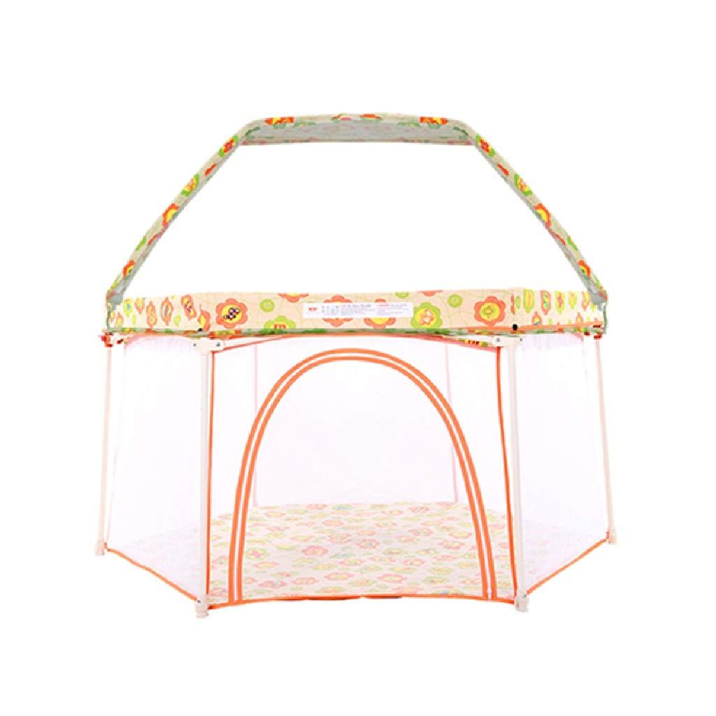 Baby Playpen - 自己膨脹可能なマットレス、折り畳み式の最もよい子供の上が付いているペン、反蚊、旅行、浜が付いている子供の安全ベビーサークル (Color : Orange)  Orange B07TJVVWYH