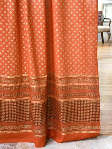Saffron Marigold Shimmering Goldstone Burnt Orange Long Curtains | Indian Sari Patchwork Curtains Printed Gold Drapes for Living Room, Bedroom, Rust Colored Home Decor (46 x 63)