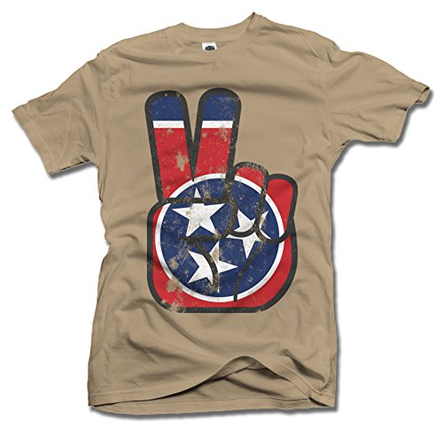 TENNESSEE STATE FLAG PEACE SIGN XL Sand Men's Tee ()