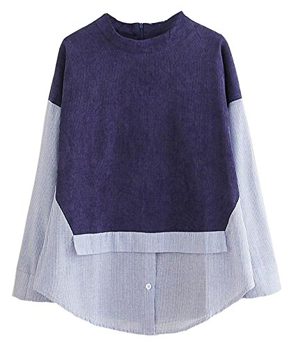 HOOBEE LINEN Women's Lone Sleeve Patchwork Back-Zipper Corduroy Blouse Shirt Top ()