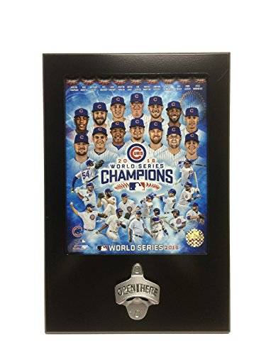2016 World Series Champions Cubs Lacquer Plaque with Bottle Opener