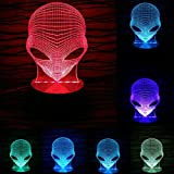 Sunfei Pop-eyed Alien Owl Shape 3D Handmade Acrylic Lamp USB Color Changing LED Night Light (Alien)