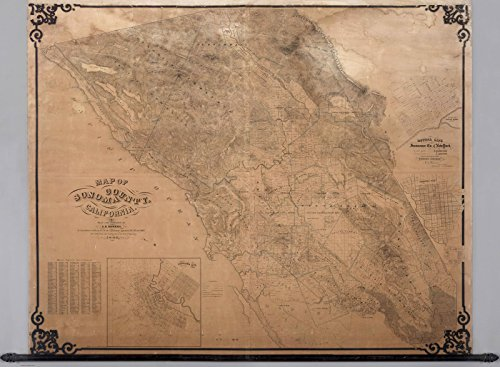 Historic Map | Map of Sonoma County California, 1866 | Historical Antique Vintage Decor Poster Wall Art | 24in x 18in