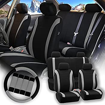 FH GROUP Stylish Cloth (Airbag & Split Ready) Full Set Car Seat Covers Combo-FH2033 Steering Wheel & Seat Belt Pads, Gray / Black- Fit Most Car, Truck, Suv, or Van