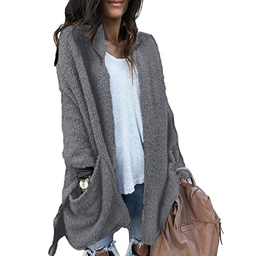 Wool Cardigan Sweater Coat (Acelyn Women's Long Sleeve Warm Open Front Cardigans Coat Jackets Outwear With Pockets Small Grey)