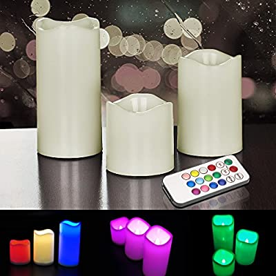 Hestia Goods Flameless Candles with Remote Control & Timer, LED Candles Color Changing Decorate Indoor and Outdoor, Ivory color Pillars, Set of 3