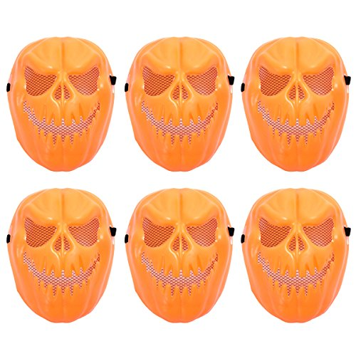 Amosfun 6 Pcs Halloween Funny Tricky Mask Pumpkin Plastic Face Mask Scary Skull Mask Plastic Cosplay Devil Masquerade Costume Party Carnival Festival Theme Party for Kids