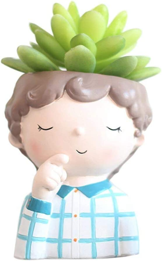 Youfui Boys Plant Decor Pot Pen Holder Succulent Flowerpot for Home Office Desk Decor Boy-Thinking