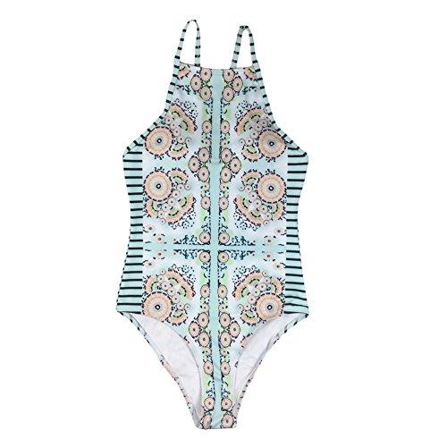 iBaste Damen Sexy geometrische Blumen rückenfrei Badeanzug