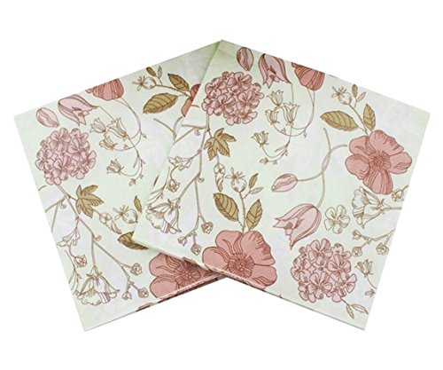Flowers Luncheon Napkins - 40 Count Paper Napkins, Designed Vintage Flowers Prints Cocktail Napkins, Serviettes Napkins for Weeding, Dinner and Party, Paper Luncheon Napkins 2-Ply, 13x13 Inch (Retro Collection, Flower 25)