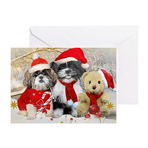 CafePress - Shih Tzu &Amp; Teddy Christmas Greeting Cards (Pk - Greeting Card (20-pack), Note Card with Blank Inside, Birthday Card Glossy