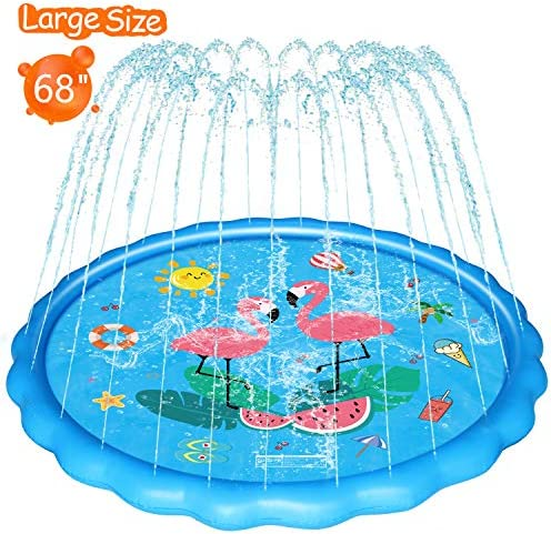 WOWGO Splash Pad for Kids – Upgraded 68″ Children's Sprinkler Play Mat Summer Outdoor Water Pool Toys Wading Pool for Toddlers Baby, Outside Water Play Mat for 3-12 Years Old Children Boys Girls