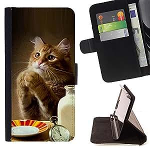 BullDog Case - FOR/Samsung Galaxy Note 3 III / - / cat cute funny paws table food milk ginger /- Monedero de cuero de la PU Llevar cubierta de la caja con el ID Credit Card Slots Flip funda de cuer