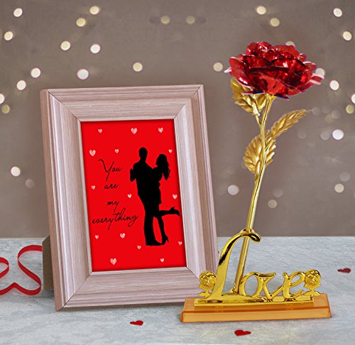 24k Gold Plated Frame - TiedRibbons Quoted Wooden Photo Frame(Image Replaceable) with 24K Gold Plated Rose Birthday Anniversary Romantic Gifts for Wife Girlfriend Women Her Girls