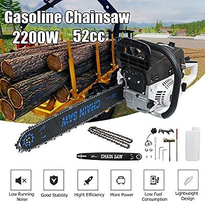 Morocca 20'' 52CC 2200W Gasoline Chainsaw Cutting Wood Gas Chain Sawing 2 Cycle 8500rmp
