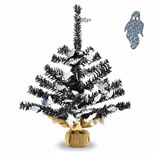 YuQi Artificial Tabletop Black Tinsel Trees with Shiny Ghost for Halloween Party Supplies, Mini Fake Branches Thine Tree with Burlap Wrapped Base for Wedding Desk Decor - 18 Inch]()