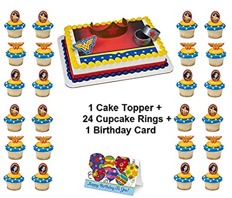 Amazon WONDER WOMAN JUSTICE LEAGUE Cake Topper Set Cupcake 24 Pieces Plus Birthday Card Toys Games