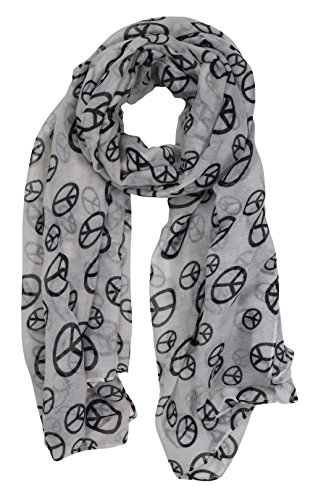 Peach Couture Fashionable Lightweight Peace Sign Design Scarf Shawl (White/Black) (Couture Sign Peace)