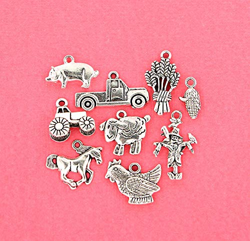 Farm Animal Jewelry - Charm - Farm Charm Collection Antique Silver Tone 9 Different Charms - COL135