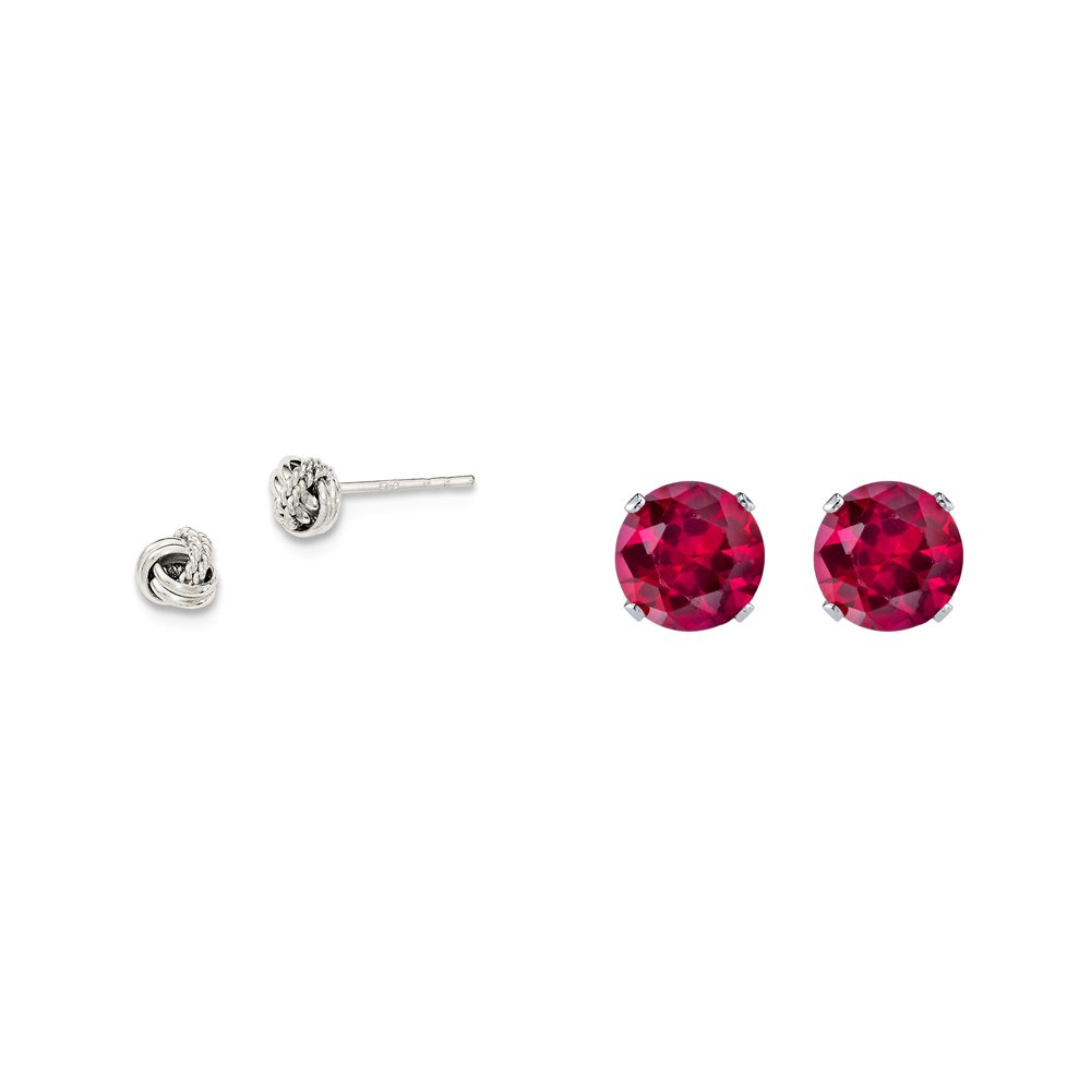 Sterling Silver Polished and Textured Fancy Post Earrings and a pair of Red 4mm CZ Stud Earrings