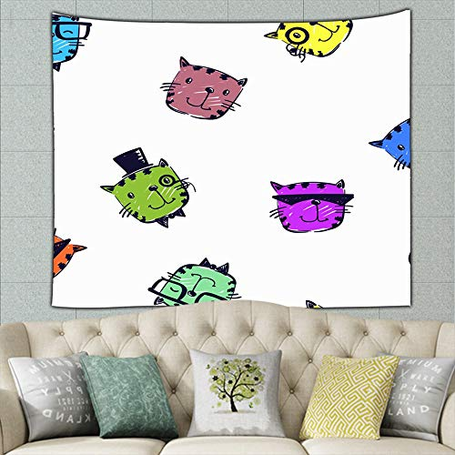 wrtgerht Hipster Animal pet Repeated boy Animals Wildlife Tapestry Wall Hanging, Hippie Sunset Forest Tapestry, Wall Art Decoration for Bedroom Living Room Dorm, Window Curtain Picnic Mat 50ʺ × 60ʺ -