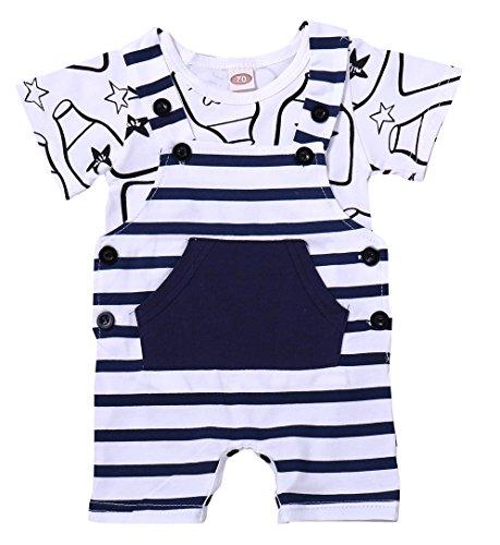xiaoming Baby Infant Organic Cotton Striped Milk Cute Bib 2-Piece Short Dungaree and T-Shirt Overalls Set 12-18 M, (Cotton T-shirt Bib)