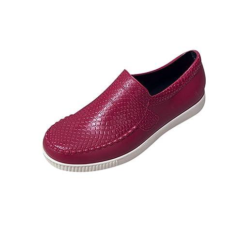 Xinwcang Hombres y Mujeres Mocasines Clásico Transpirable,Unisex Elegante Zapatos Casuales Conducción Antideslizante Oficina Shoes Rojo Asia 40: Amazon.es: ...