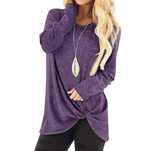 Sunmoot Clearance Sale Casual T-Shirt for Womens Cold Shoulder Short Long Sleeve Sleeveless Knot Front Tunic Tops Blouse D-Purple ()