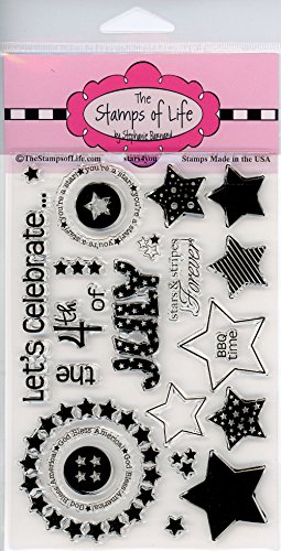 - 4th of July Scrapbooking Stamps for Card Making by The Stamps of Life - Independence Day Fireworks Stars4You