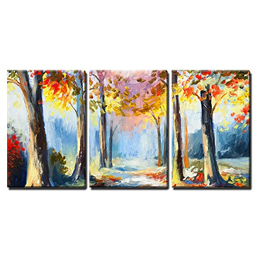 """Wall26 - 3 Piece Canvas Wall Art - Oil Painting - Colorful Spring Landscape, Road in the Forest, Abstract Watercolor - Modern Home Decor Stretched and Framed Ready to Hang - 16\""""x24\""""x3 Panels"""