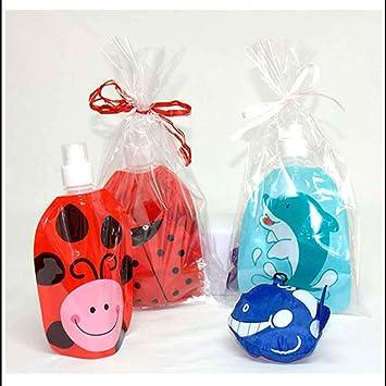 Botella Infantil Animales con Mochila Plegable a Juego.Lote 10 Unidades.Decorada con bazo y Tarjeta Personalizada.Detalles cumpleaños y Fiestas Infantiles.