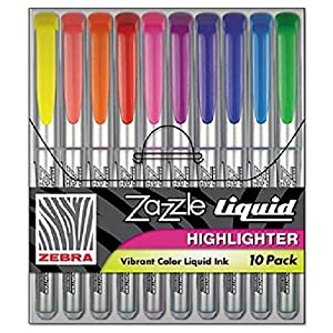 Zazzle Liquid Ink Highlighter, Chisel Tip, Asst Colors, 10/set By: Zebra