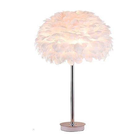 Lámpara de Mesa de Plumas Blancas/Lámpara de Escritorio de ...