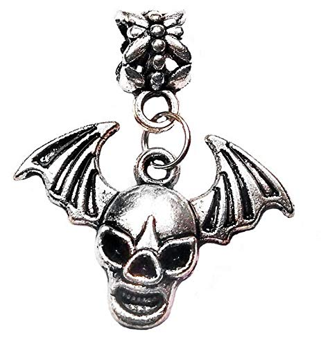 Winged Skull Bat Wings Halloween Dangle Bead for Silver European Charm Bracelets Vintage Crafting Pendant Jewelry Making Supplies - DIY for Necklace Bracelet Accessories by CharmingSS