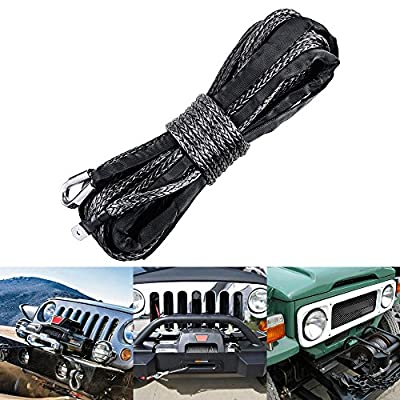 "3/8"" x 95ft Gray Synthetic Winch Rope Line Cable 20000LBs+ with Sheath Thimble ATV UTV Truck Boat Pick-up Truck"