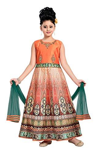 Aarika Girl's Self Design Party Wear Gown (G-2036-ORANGE_36_13-14 Years) by Aarika