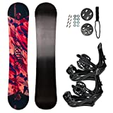 STAUBER Summit Snowboard & Binding Package, Size 161, 158, 153, 148, 143, 138, 133, 128 - Best All Terrain, Twin Directional, Hybrid Profile - Adjustable Bindings - Designed for All Levels