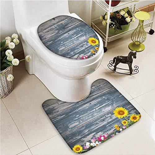 Toilet Carpet Floor mat Antique Old Planks American Style Western Rustic Wooden and Sunflower, Flower, Grass 2 Piece Shower Mat Set