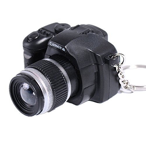 SUPPION LED Lovely Mini Camera Key Chain Rings Chain Cartoon Women Car Bag Key Ring (black)