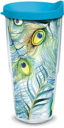(Tervis 1133568 Peacock Tumbler with Wrap and Turquoise Lid 24oz, Clear)