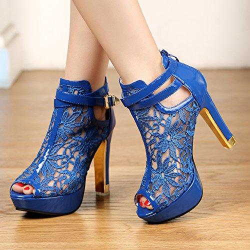 Getmorebeauty Frauen Hübsche Spitze Blumen Offene Zehen High Heels Stiefeletten Blau
