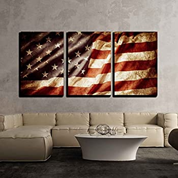 Wall26 3 piece canvas wall art closeup of grunge american flag modern home decor stretched and framed ready to hang 16x24x3 panels