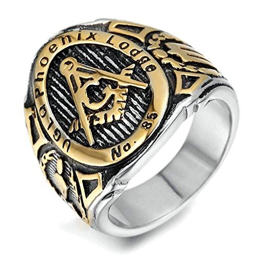 for Men, Freemason Ring Gothic Black Band Gold 2516MM Size 12 Epinki (Whitby Jet Necklaces)