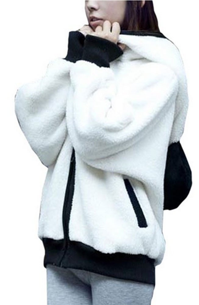 King Ma Women's Panda Ear Tail Zip up Hoodie Outerwear (Chinese L)