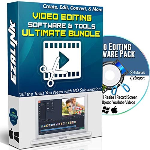 Video Creator Software Bundle DVD - Video Editing Converting Screen Recording Downloading & More for Windows 10, 8, 7 & MAC